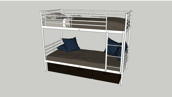 Bunk frame bed sv rta by ikea 3d warehouse bed frame for Modelli sketchup ikea