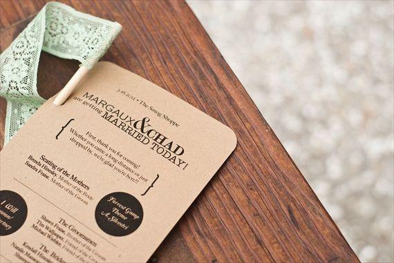 DIY Wedding Ideas: Kraft Ceremony Programs (by Harmony Creative Studio), photo by Meghan Christine Photography