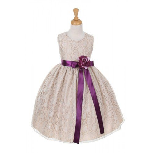 CinderellaCoutureCC1132CHlace dress with satin ribbon sash plum size 6 -- You can get additional details at the image link.