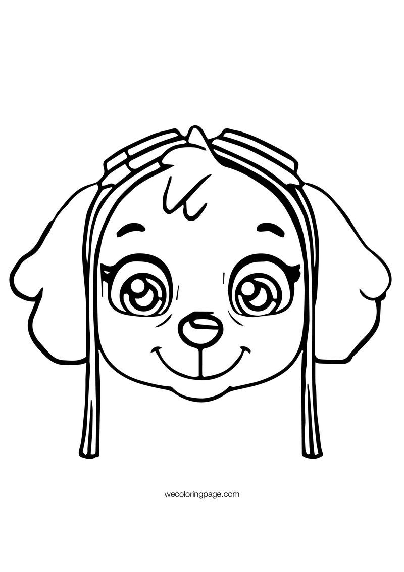 Paw Patrol Skye Face Patrol Coloring Page With Images Paw