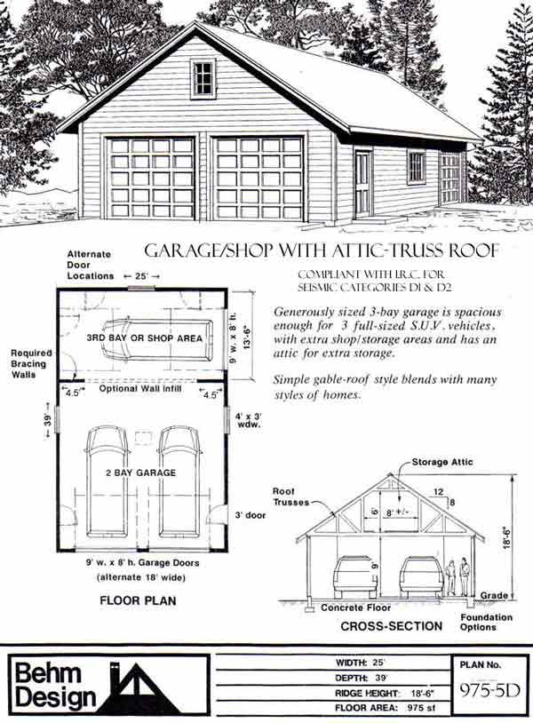 5d House Design Apk: 975-5D - 25' X 39' Garage Plans By Behm Design