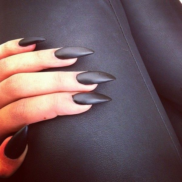 Matte black claw nails <3 | Nails: Art&Etc ❤ liked on Polyvore ...