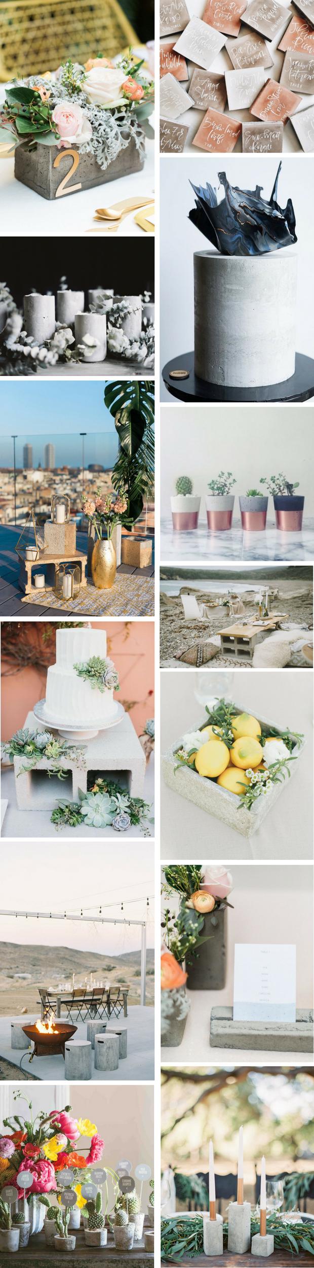 Wedding theme ideas by color  Stark Style Concrete Wedding Decor in   My Best Friendus