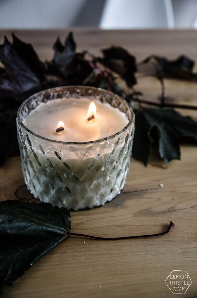 Chai scented wood wick candle in the microwave wood