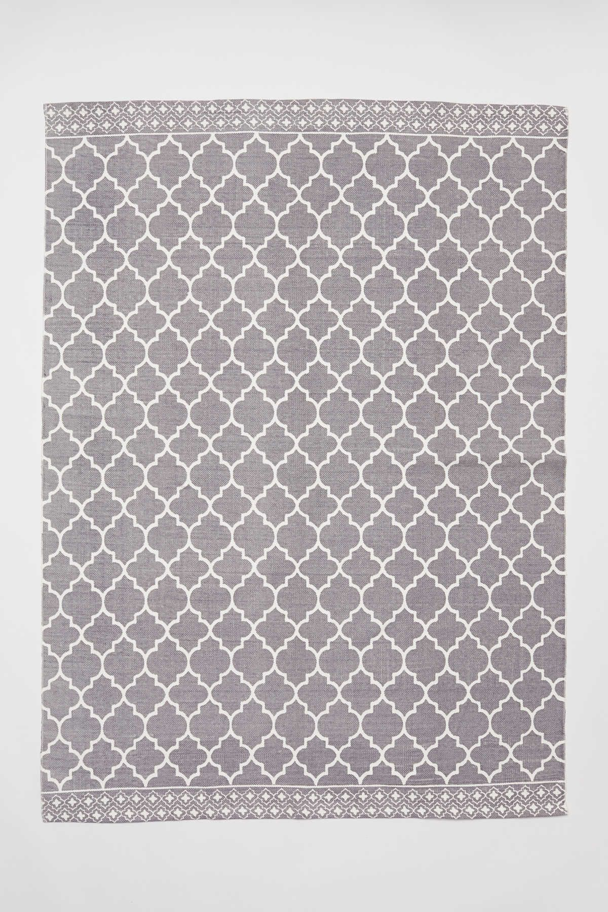 Rectangular Rug In Cotton Fabric With A Printed Pattern At
