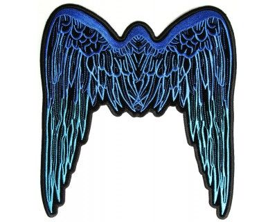 Large Angel Wings Iron on Patch Blue
