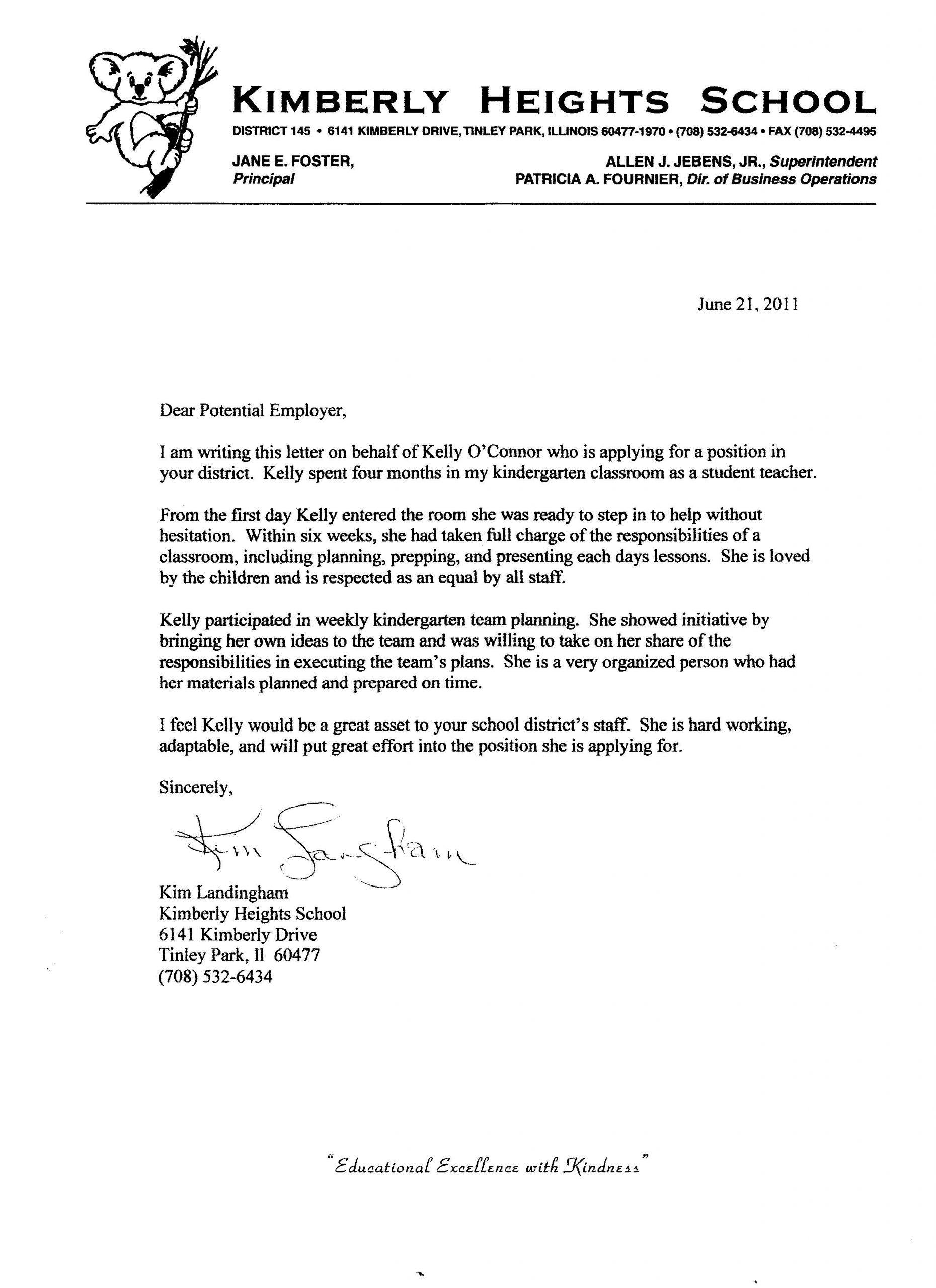 Letter For Kindergarten Teacher From