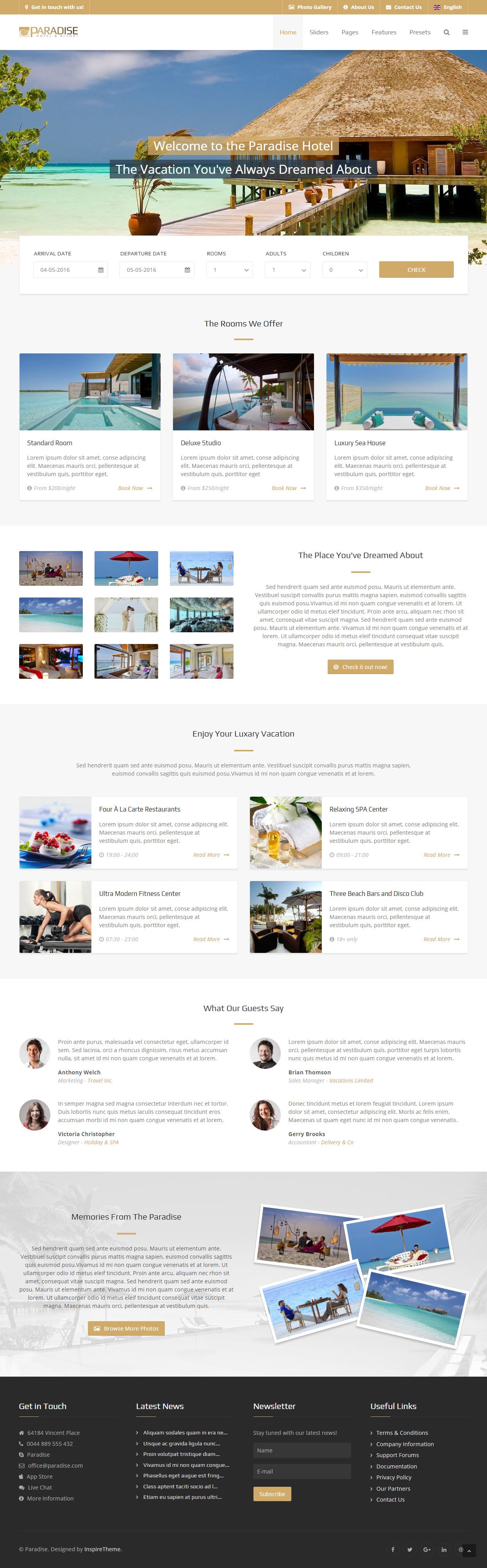 paradise is premium responsive retina joomla hotel template