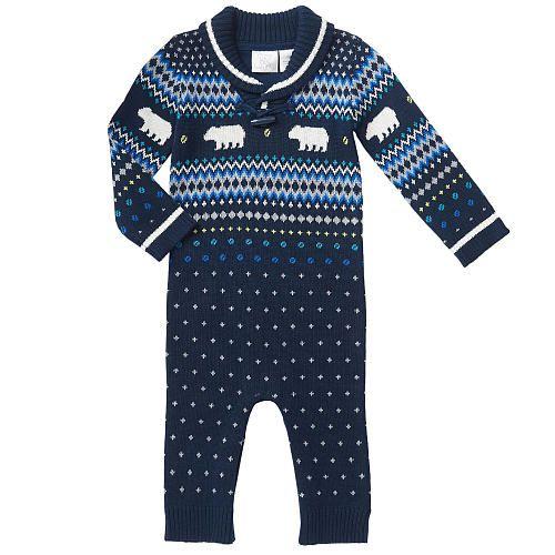 Koala Baby Boys Navy Fair Isle Print Sweater Coverall - Babies R ...