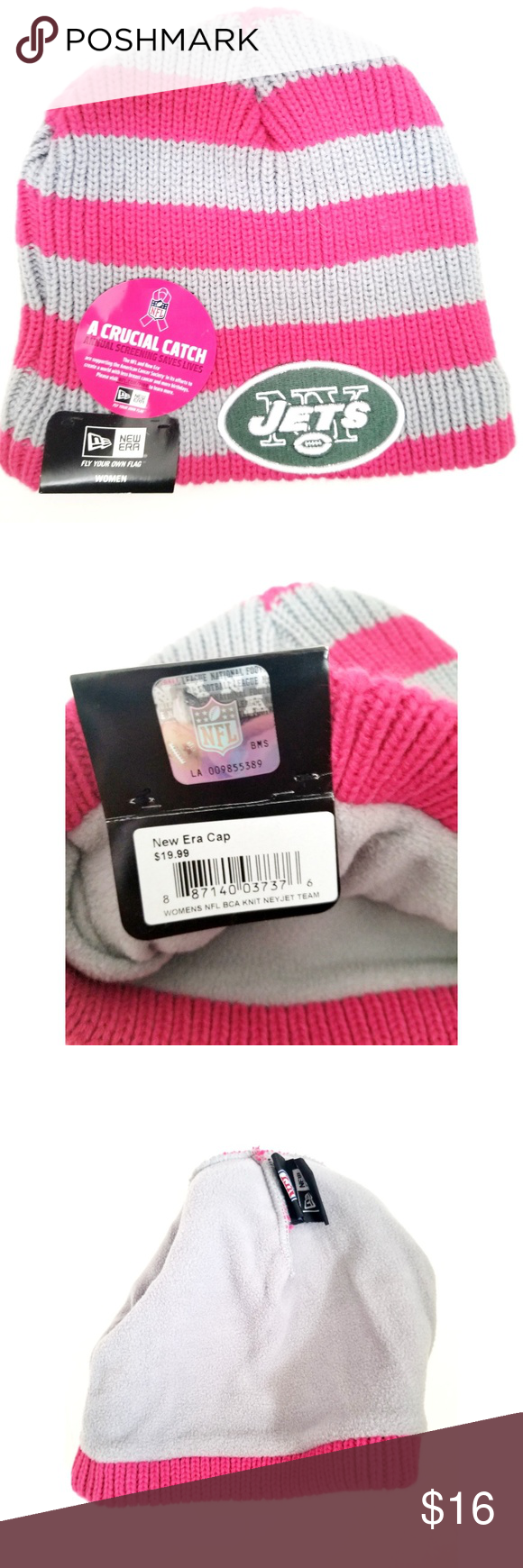 Women s NY Jets Knit Cap A knit cap from NFL Gear to support breast cancer  awareness. One size fits all. Brand New 2a3f81033