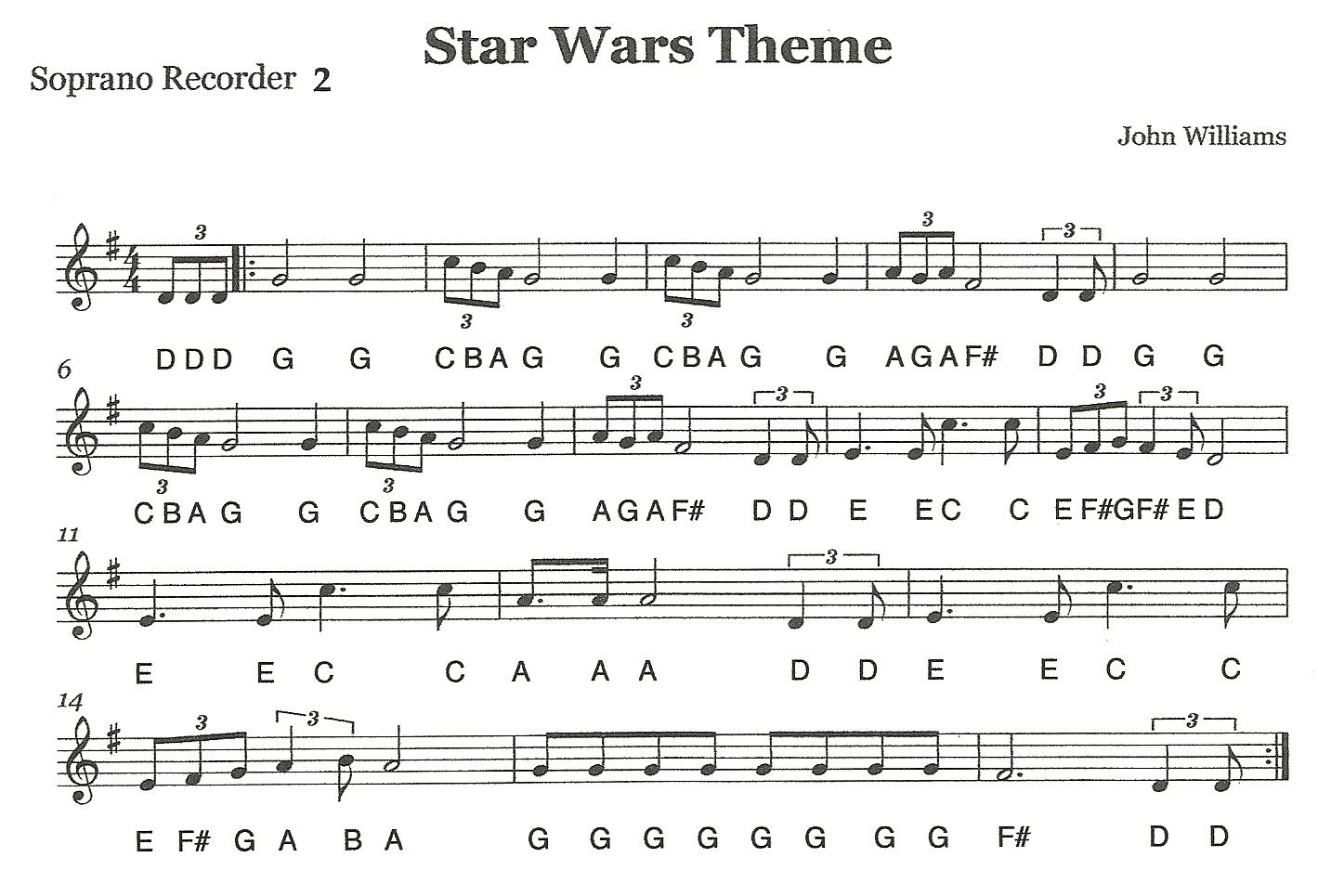 Recorder Ensemble Star Wars Second Recorders Recorder