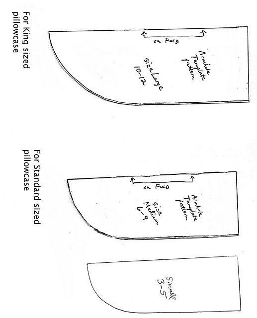 armhole template for pillowcase dress - pillowcase dress armhole templates chart for sizing when
