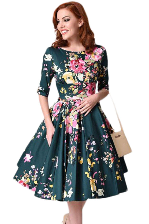 80b5eb1112 Sukienka vintage pin up butelkowa zieleń rozkloszowana midi