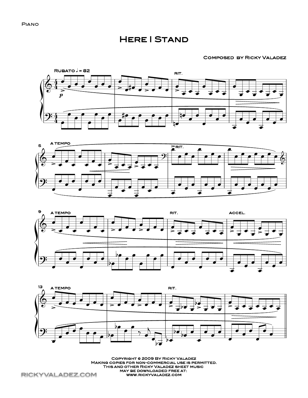 Here I Stand By Ricky Valadez Piano Solo Piano Hymn Sheet Music Piano Music