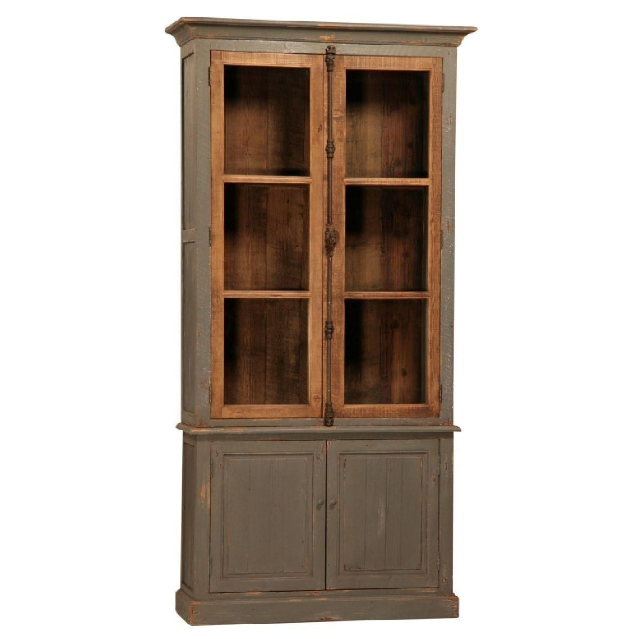 Four Door Two Piece Reclaimed Cabinet Fixed Shelves In Top Behind Gl Doors French Style Hardware Base Includes 1 Shelf Distressed Paint Finish