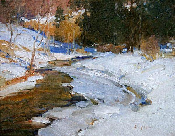 Xiangyuan Jie Studio Artist Oil Painting Plein Air Landscape Portraits Concept Artist Winter Landscape Painting Winter Painting Landscape Art