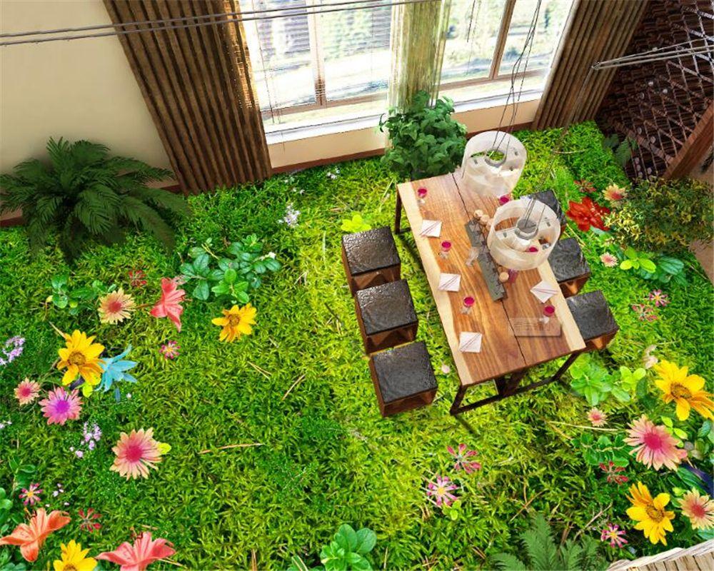 Beibehang Flowers Grass Lawn 3D Floor Tiles Three Dimensional Painting Draw  Room Bedroom Bathroom Floor