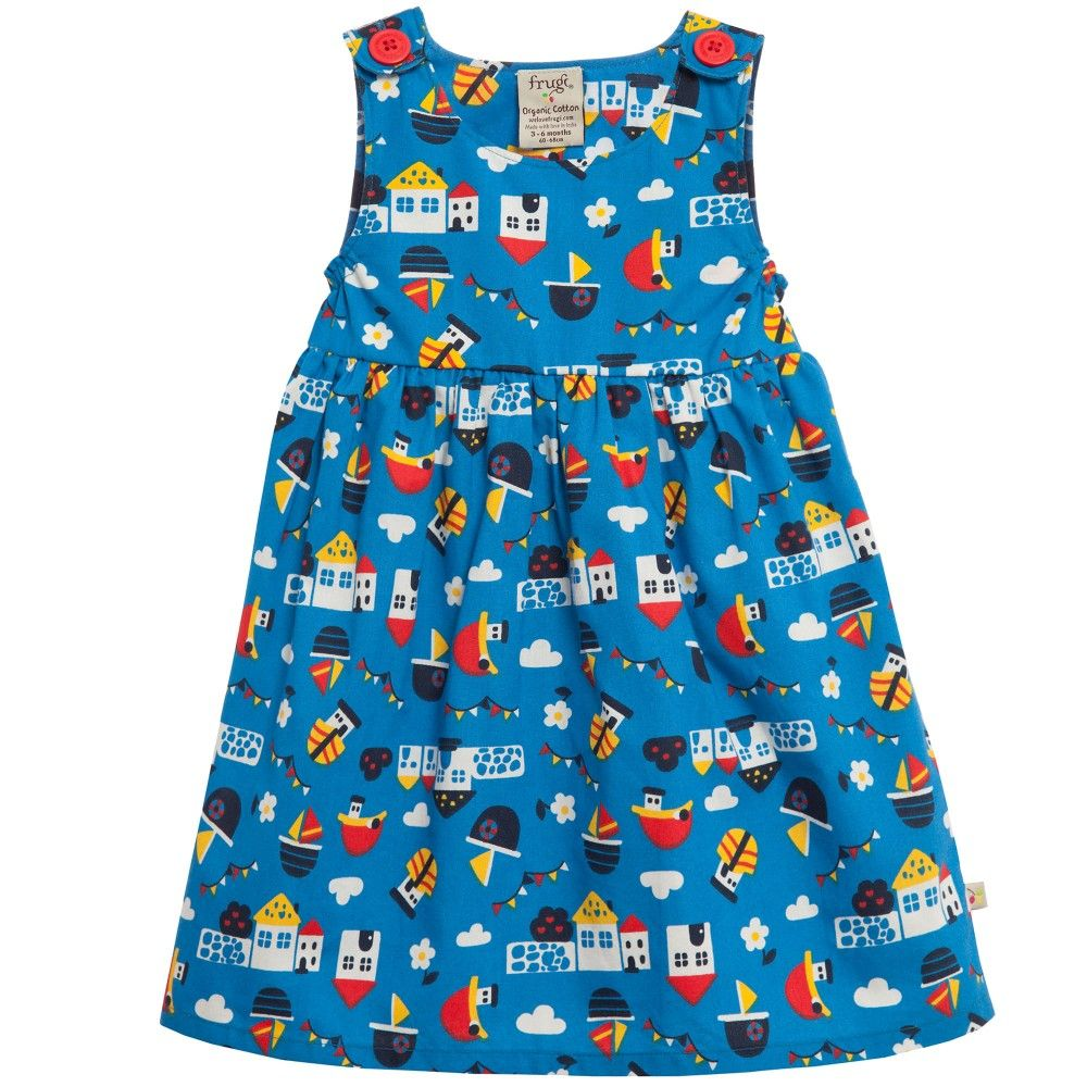 Blue Organic Cotton \'Little Pretty Party\' Dress, Frugi, Girl | Alice ...