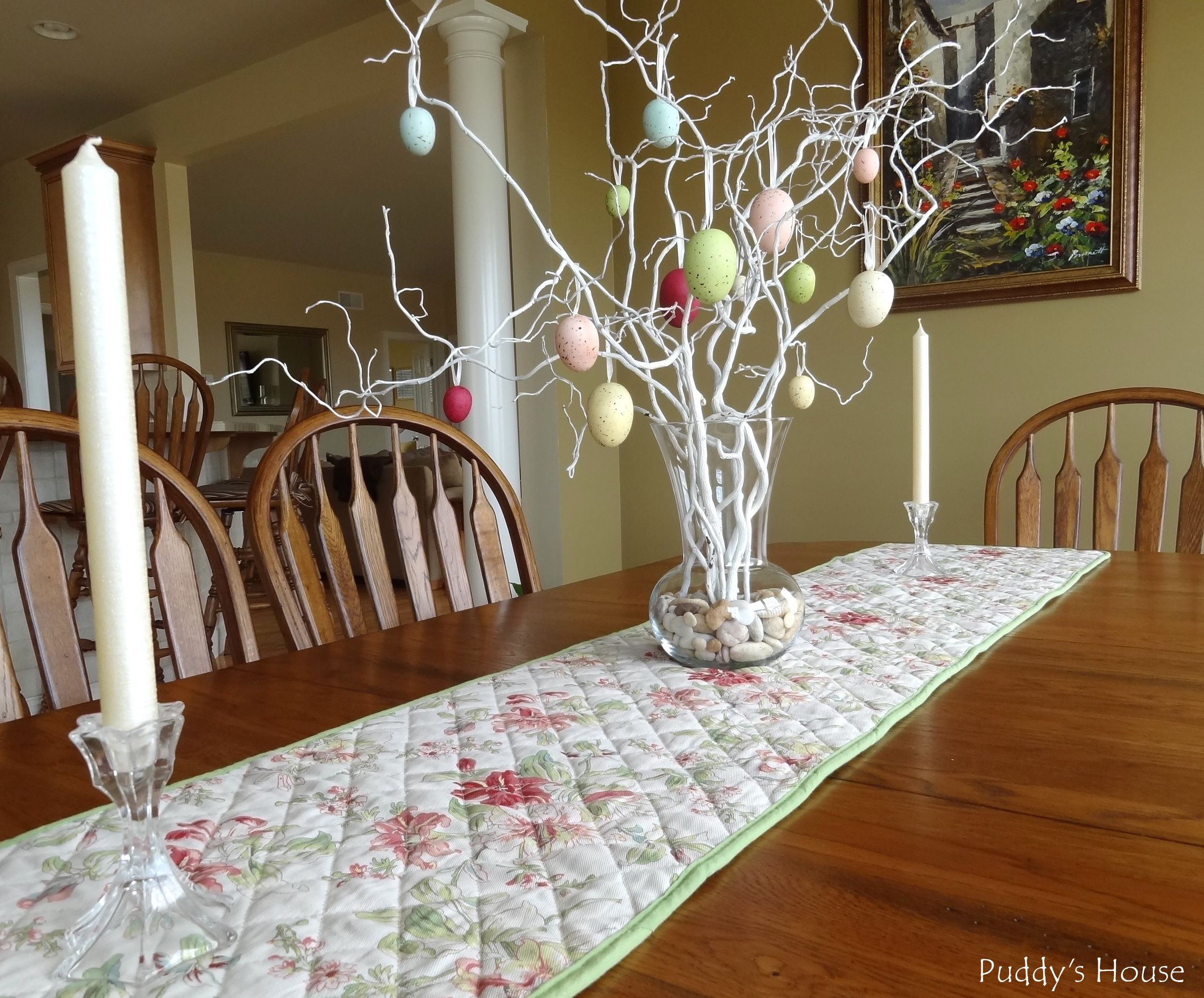 easter decorations dining room centerpiece branches with hanging