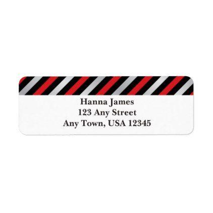 Black Red Silver Stripe Wedding Label pattern Pinterest