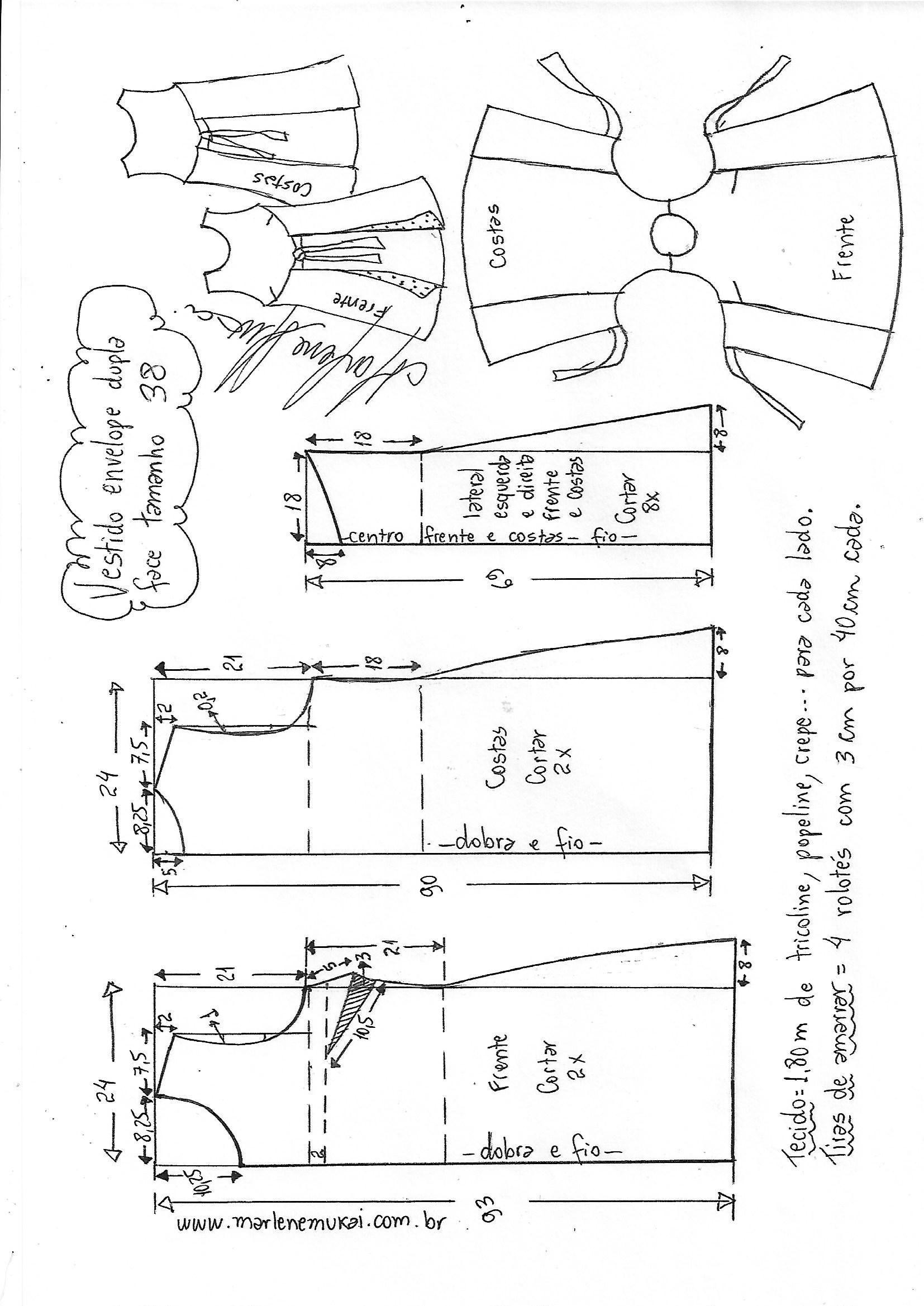 Vestido envelope dupla face evasê - DIY - molde, corte e costura ...