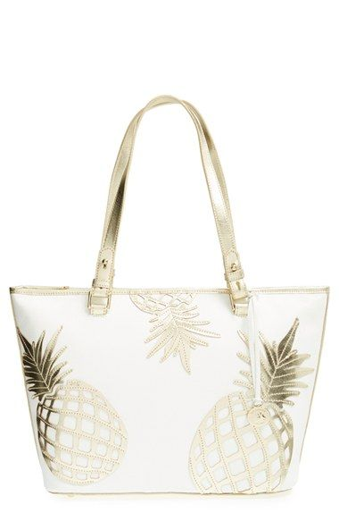 Women's Brahmin 'Medium Asher' Leather Tote - White | Gold leather ...