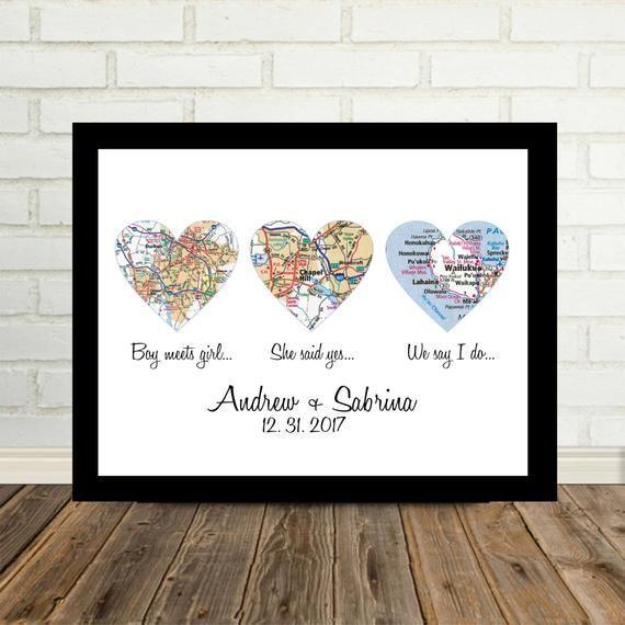 Wedding Gift Framed Art Heart Map Personalized Wedding Gift | Etsy