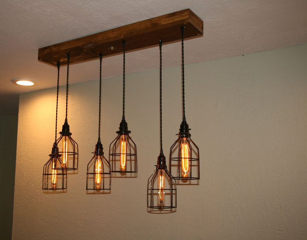 36 Wood Mount Industrial Chandelier 6 Cage Pendant Light