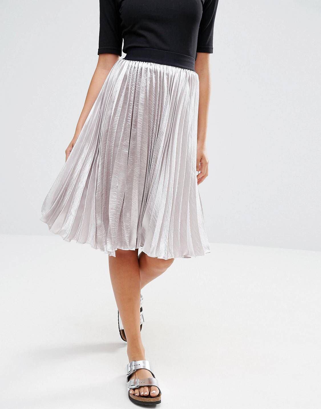 latest trends of 2019 run shoes get cheap New Look Satin Pleat Midi Skirt | Style. | Pleated midi ...