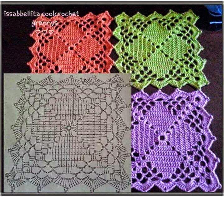 Patrón para tejer cuadrado (granny) al crochet para confeccionar ...