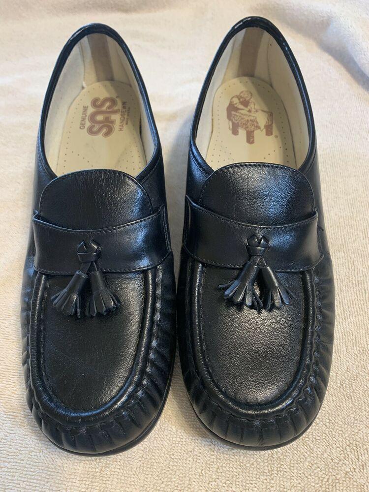 SAS Black Leather Slip on Shoes 10.5 M fashion clothing