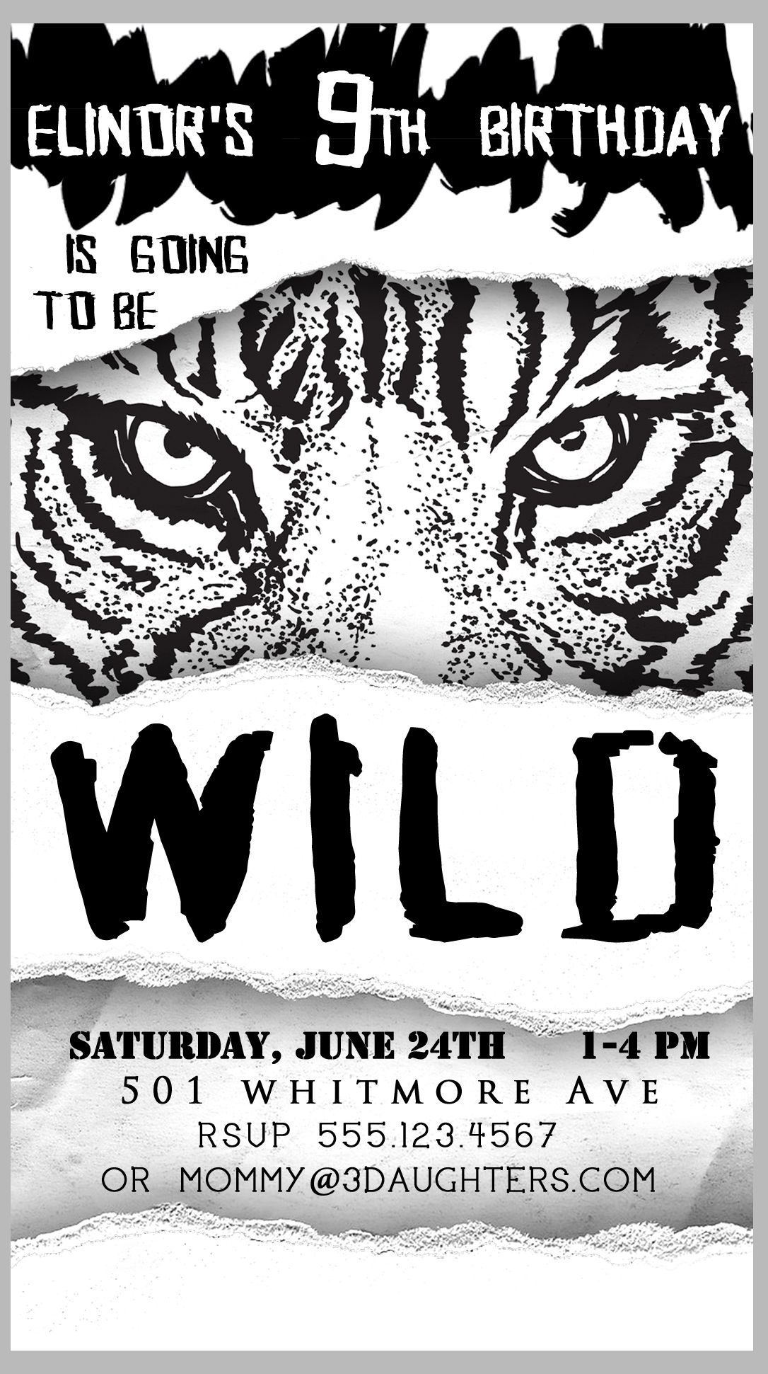 Tiger Lion Big Cat Birthday Party Invitation. Fits inside regular ...