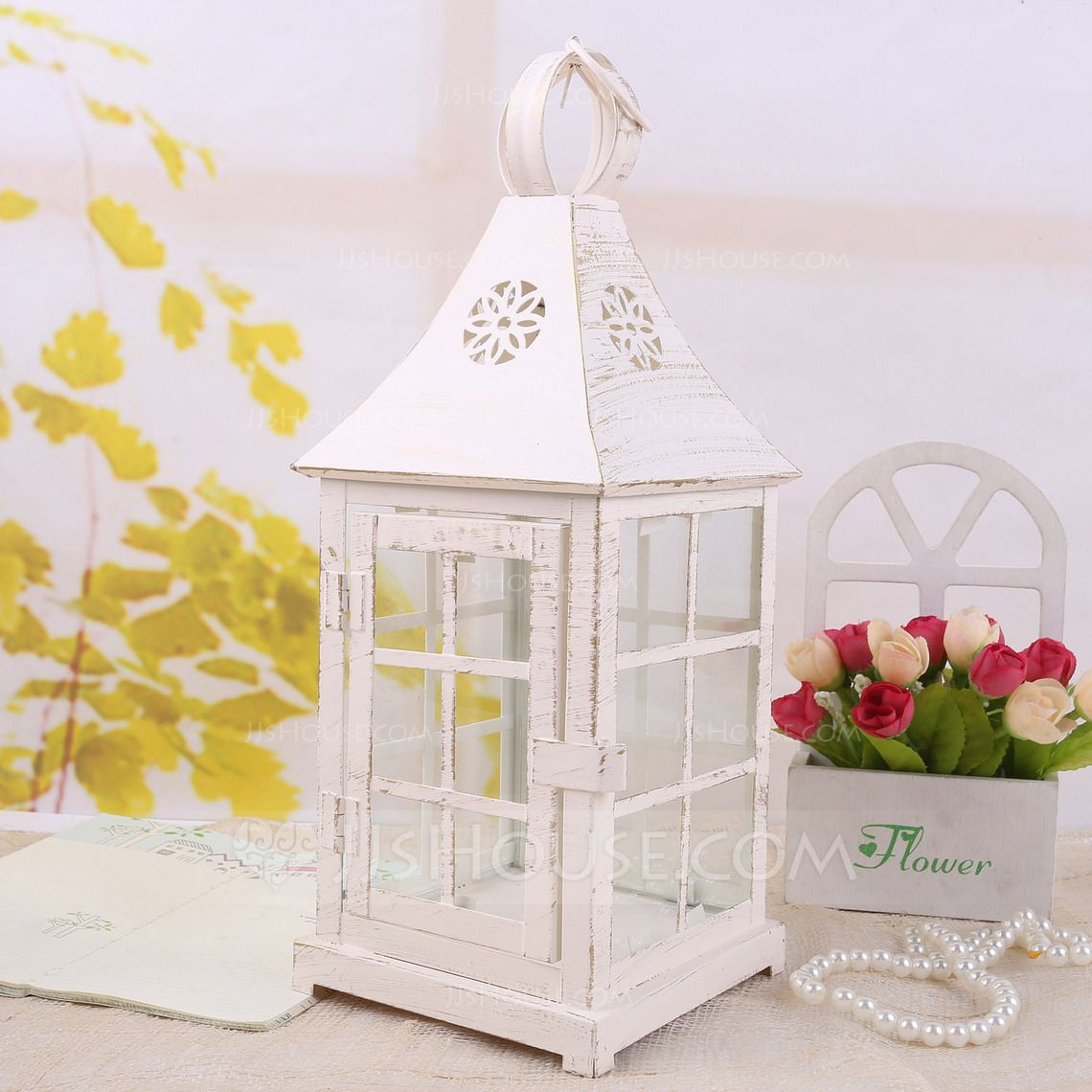 Attractive House shaped Glass/Iron Candle Lantern (131039201) - JJsHouse