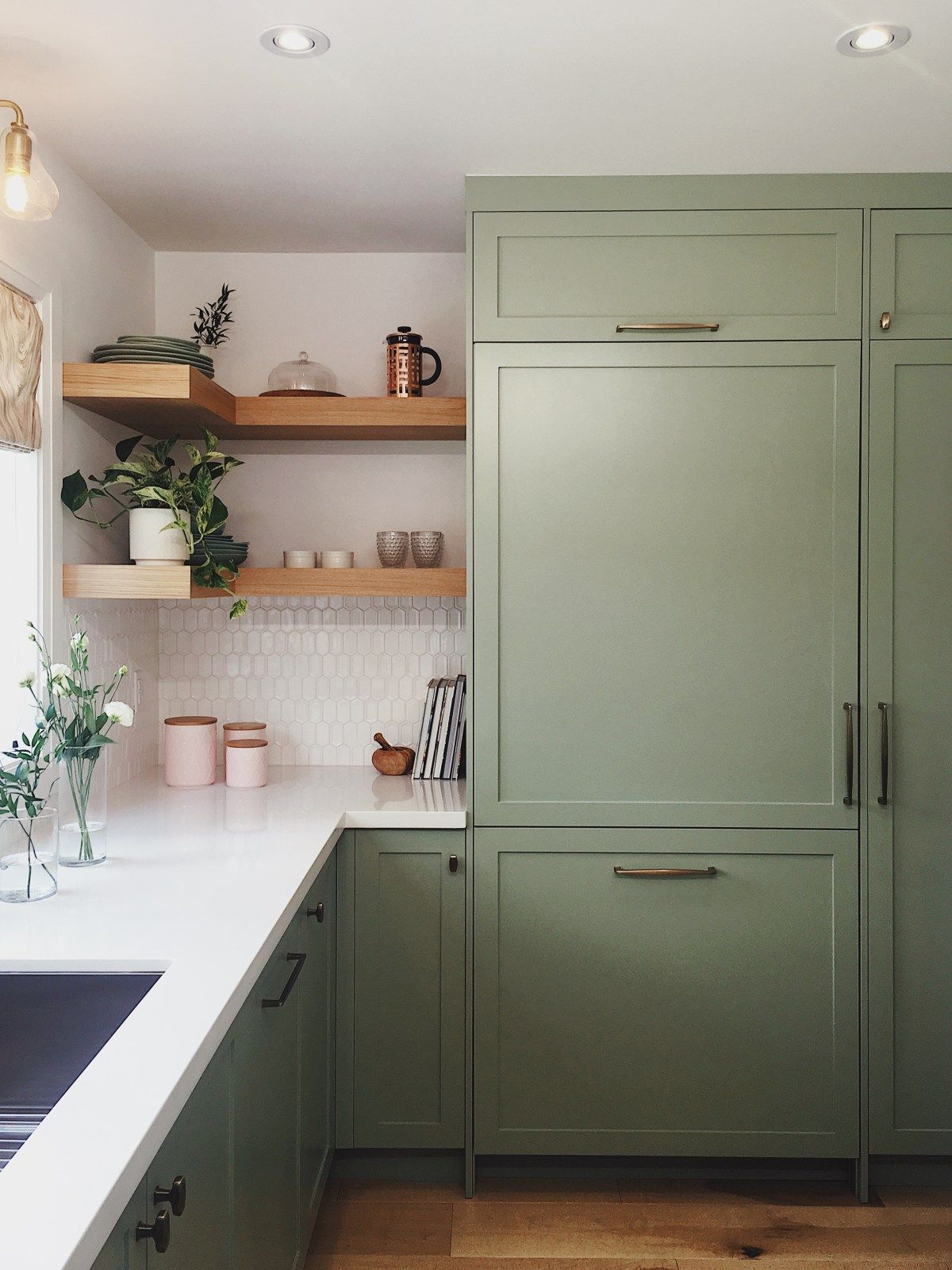 Sage Green Cabinets Brass Gold Hardware And Open Wood Shelving In A Kitchen For Hgtv Green Cabinets Kitchen Cabinet Inspiration Kitchen Remodel Small