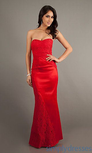 Strapless Lace Mermaid Dress at SimplyDresses.com