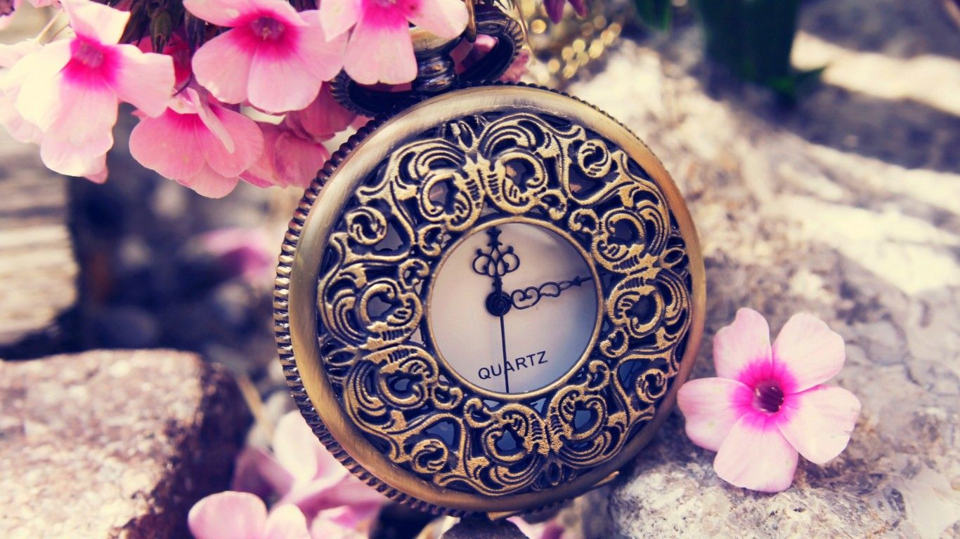 Download Wallpaper Clock Flowers Spring Dial Switch Time Clocks Miscellanea Resolution 1366x768