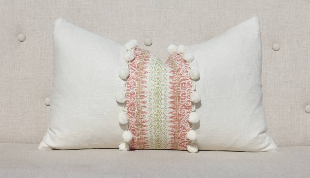 Authentic Striped Lumbar Pillow Coral Embellished With Cream