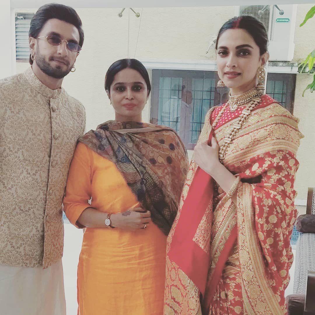 Deepika Padukone And Ranveer Singh Look Smitten In Love As They Seek Blessings At Tirupati With Family On First Anniversary Hungryboo Deepika Padukone Ranveer Singh Traditional Outfits