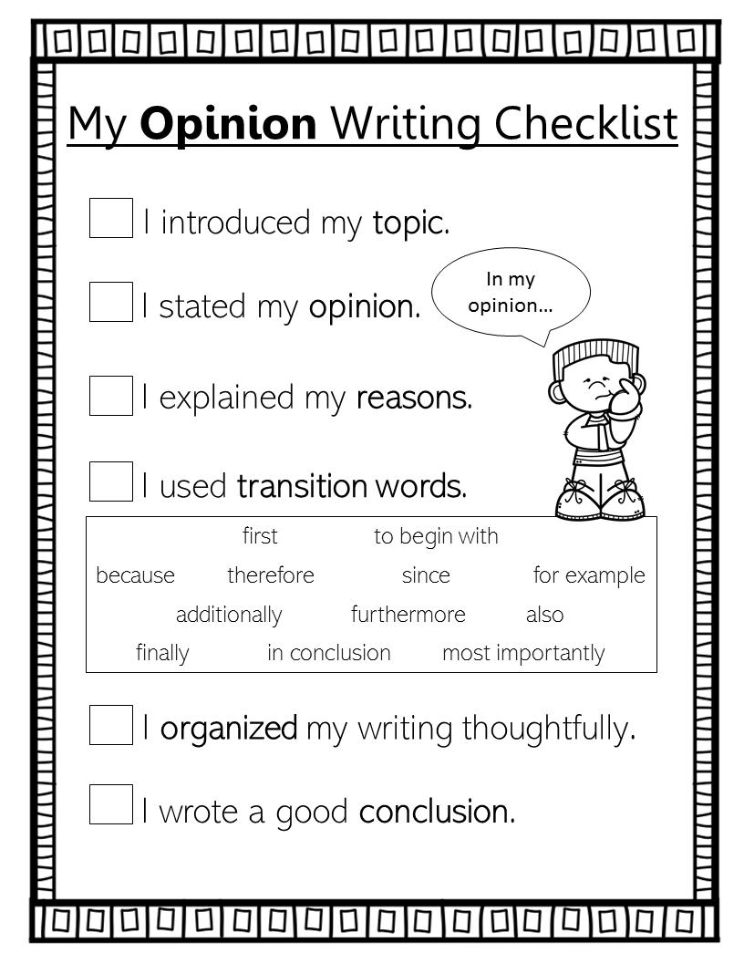 3rd Grade Opinion Writing Checklist Writing Checklist Opinion Writing Checklist Third Grade Writing