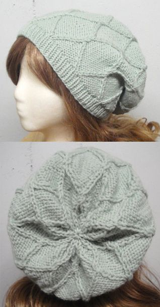 Knitting Pattern For Ida Slouch Hat Beanie With Diamond Pattern And