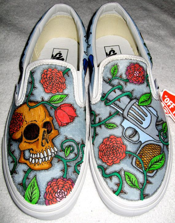 Custom designed Vans by RadCakes.com. These are an example of Gun n Roses themed shoes.