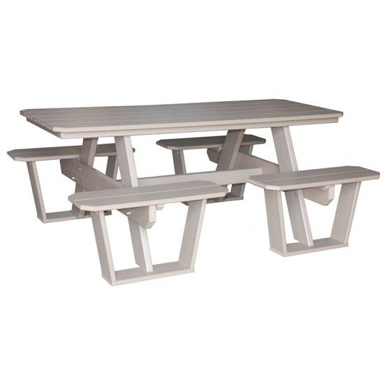Amish Outdoor Poly Split Bench Picnic Table Metal Outdoor