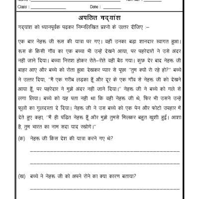 Language Hindi Grammar Unseen Passage In Hindi 03 Language