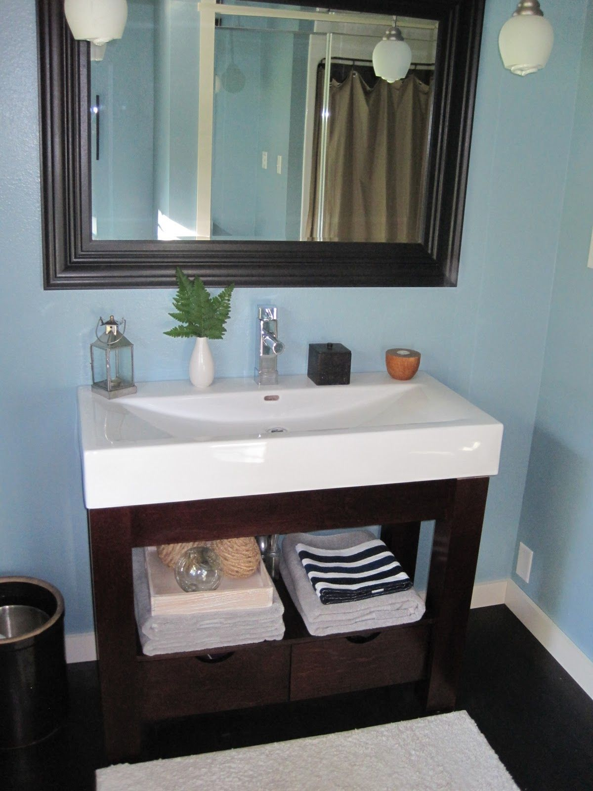 Blue Brown Painted Bathroom | For Starters, That Fish Bowl Blue Was Driving  Me Crazy