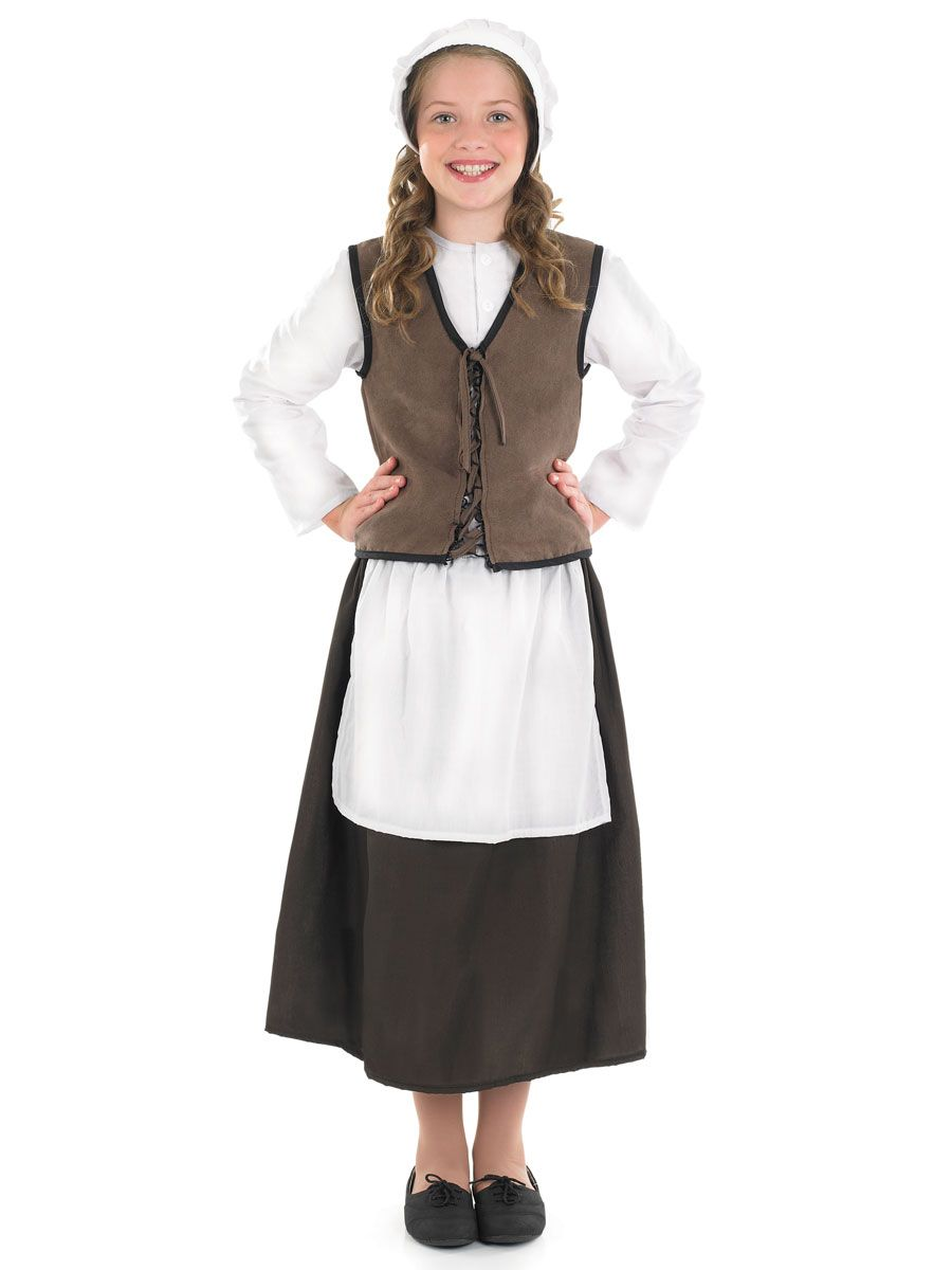 Girls Poor Tudor Maid Scullery Historical Book Day Fancy Dress Costume Outfit