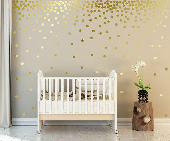 Filles chambre · mural or métallique décalcomanies à pois décoration