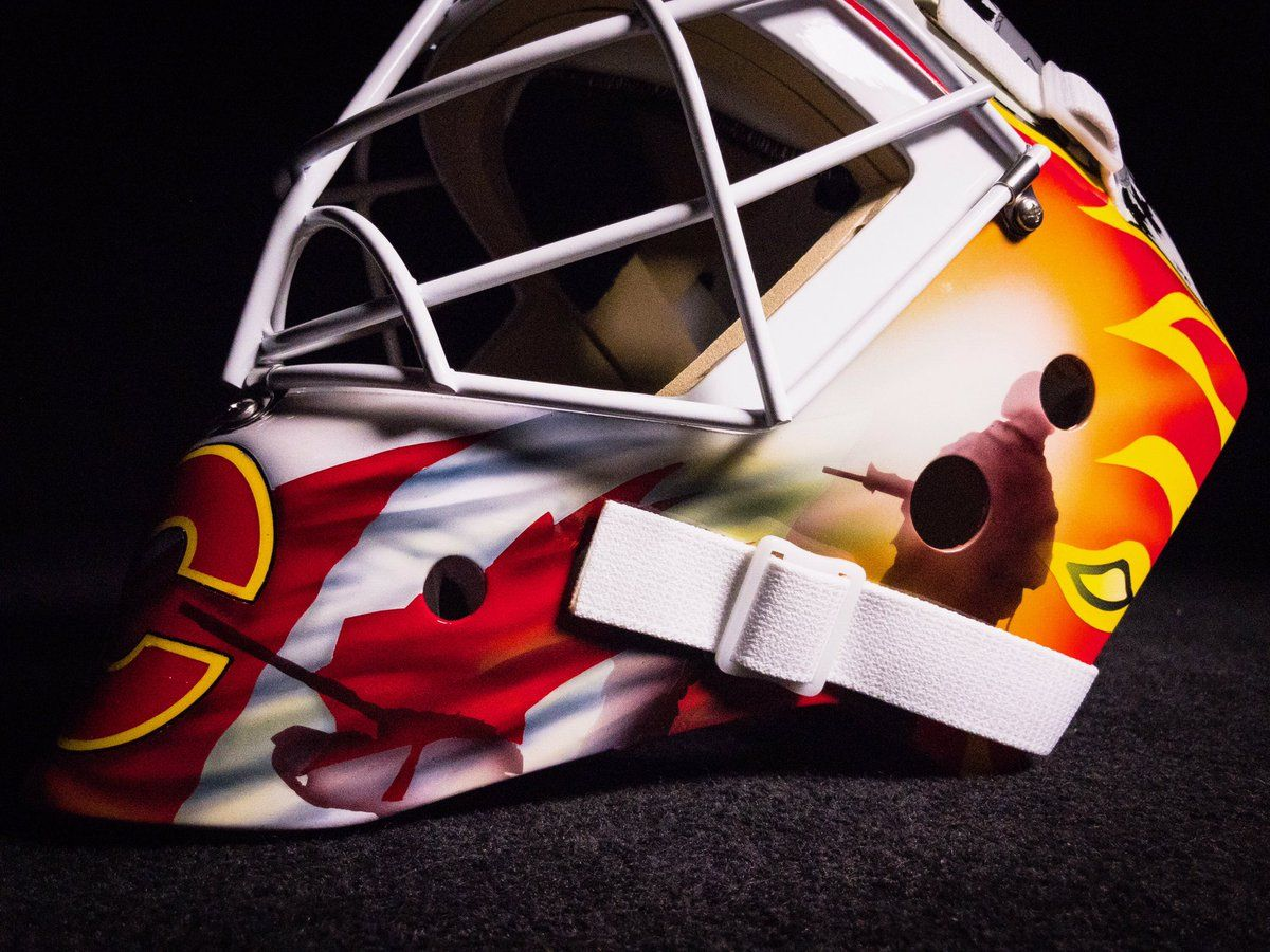 Jan. 11, 2017 - Brian Elliott has designed a mask for tonight's Canadian Armed Forces Appreciation Night and will be auctioning it off in support of charity!