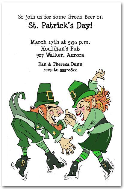 Leprechaun Boogie Party Invitation St Patricks Day Invitations – St Patricks Day Party Invitations