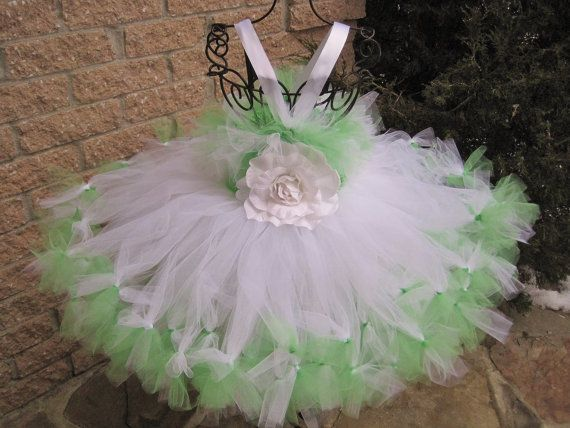 Petti Tutu Dress SPRING GREEN on WHITE  Stretch by ElsaSieron, $55.00