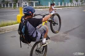 Bikes Ride Bicycle With One Wheel Wheelie Ride Bicycle